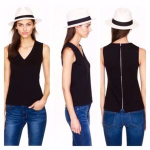 J. Crew  V Neck Shell Tank Top - Black - XXS